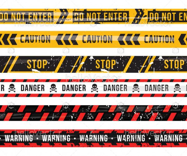 Set of caution and danger tapes