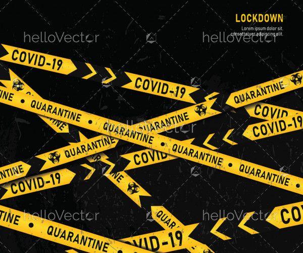 Quarantine zone yellow warning tape set