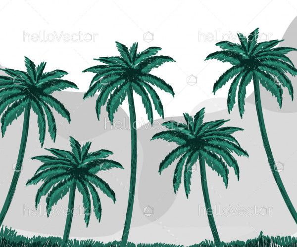 Beautiful green palm trees mountain landscape