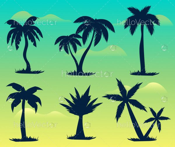 Silhouette of palm trees - Vector illustrations