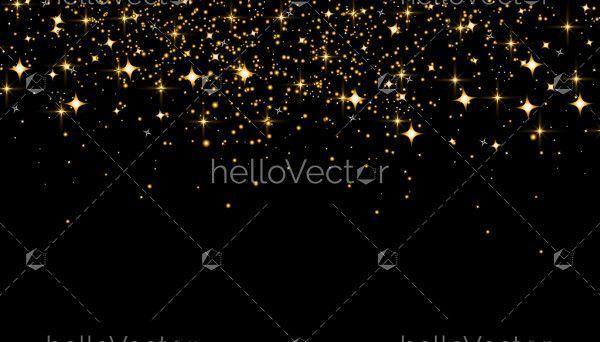 Gold stars on a black background