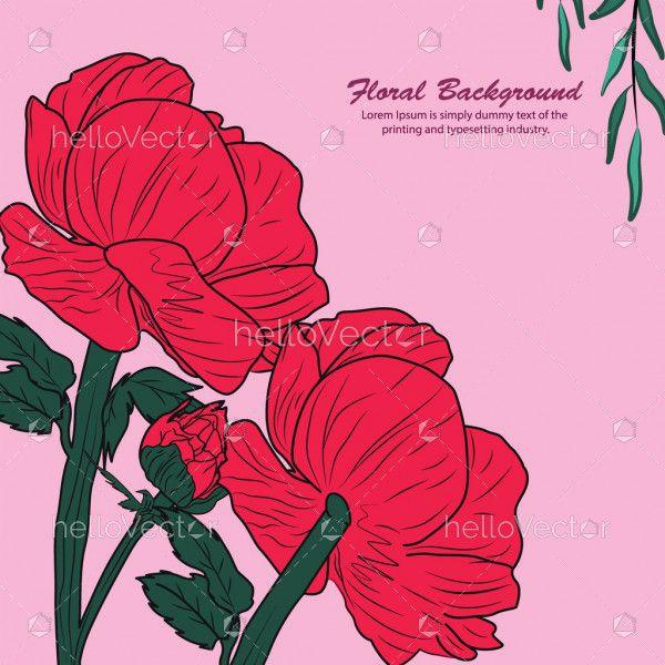 Floral Red Rose Banner