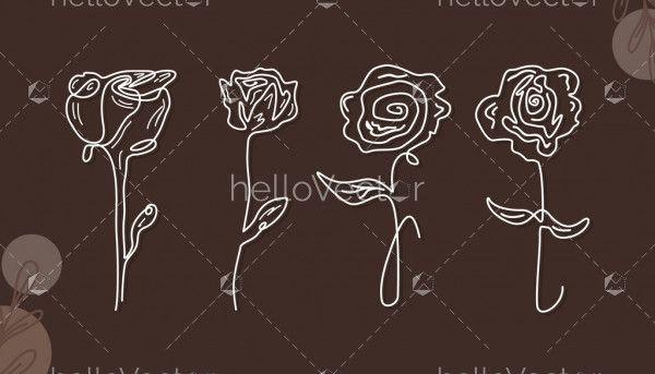 Rose Outline Design