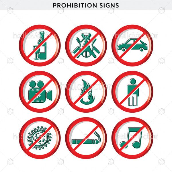 Set of Prohibition Signs