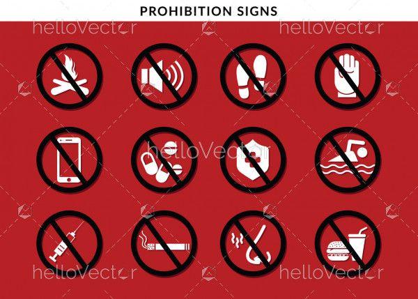 Prohibited Sign Set