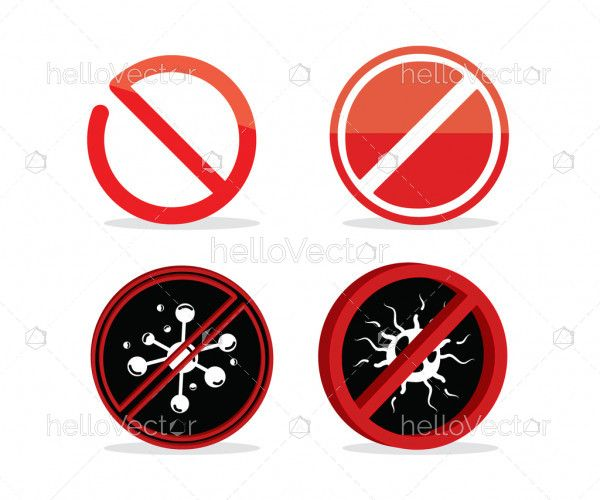 Red prohibition sign collection