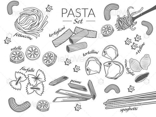 Pasta Doodle Background