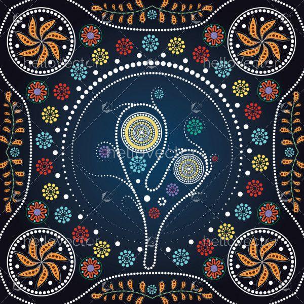 Aboriginal tree, Aboriginal art vector painting with tree. Illustration based on aboriginal style of dot painting.