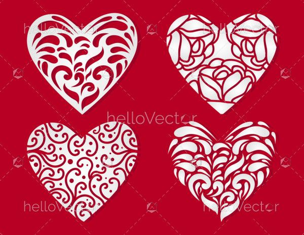 Laser cut hearts set with lace pattern
