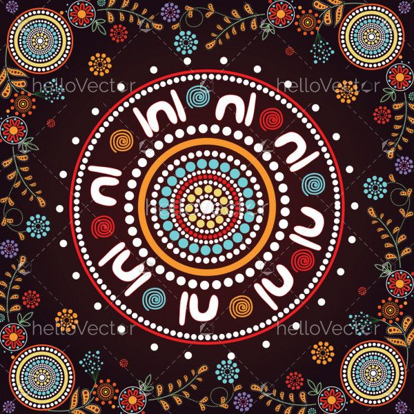 Meeting place, aboriginal art vector painting. Illustration based on aboriginal style of dot painting.