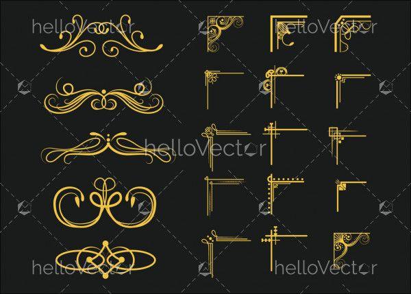 Ornamental borders and flourish corners vector set