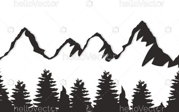 Mountain with tree silhouette vector
