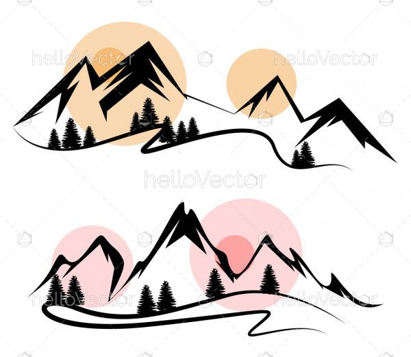 Abstract landscape nature mountain view silhouette