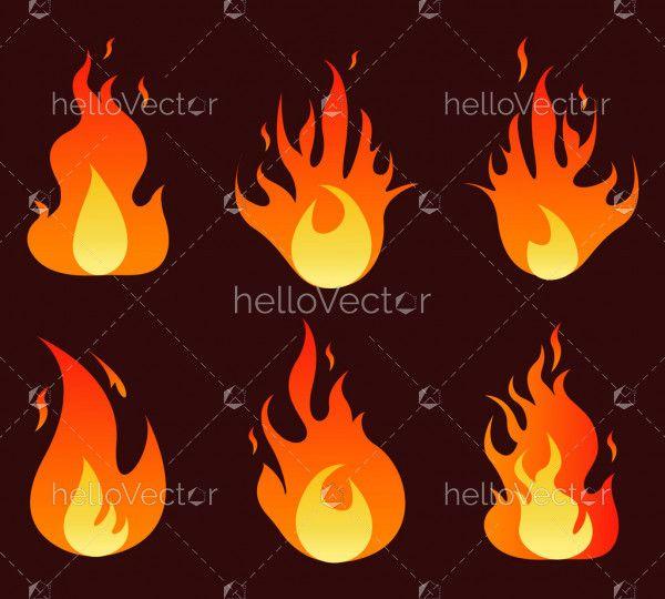 Flame Illustration Set