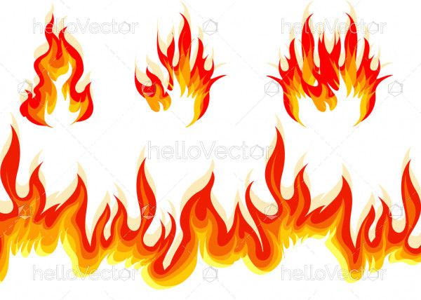 Red and orange fire flame vector set