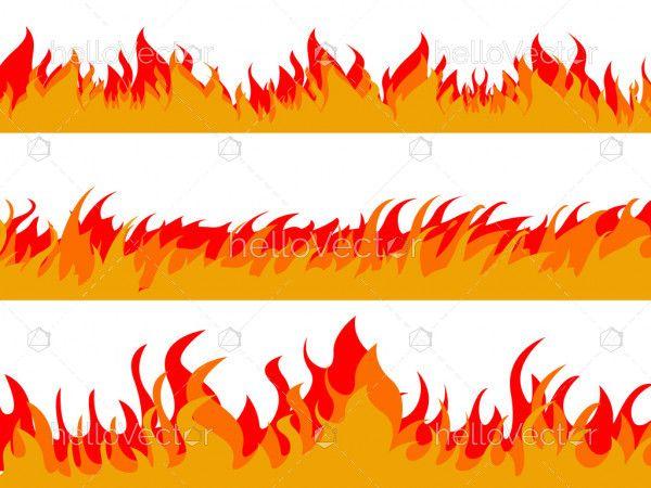 Cartoon fire flames flat collection