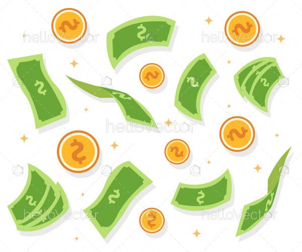 Falling dollars vector background