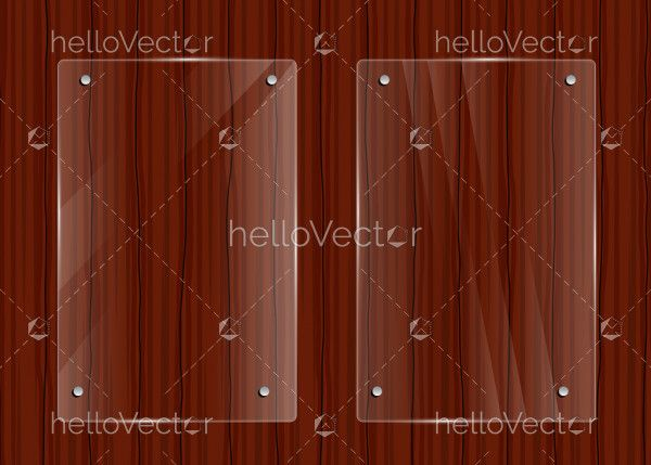 Glass frames on wooden texture background