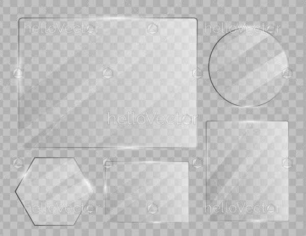 Glass plates set on transparent background