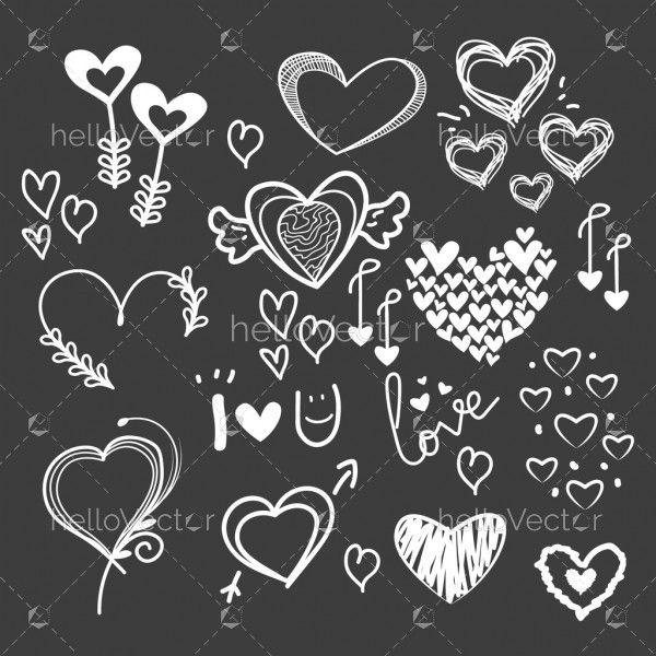 Love decorative vintage element vector set