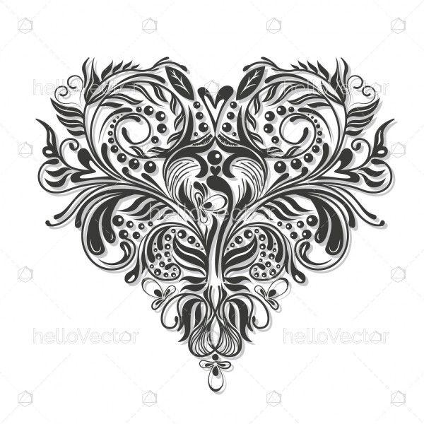 Floral heart shape illustration