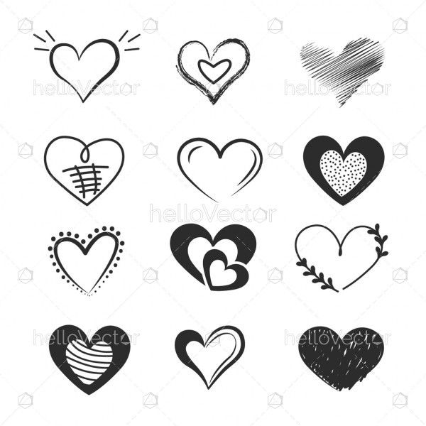 Doodle hearts, hand drawn love heart collection