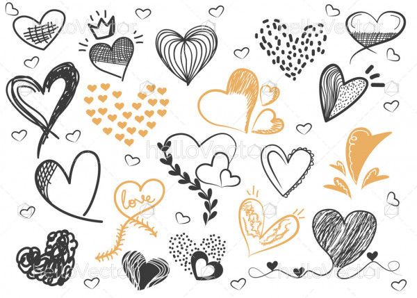 Hand drawn vector valentine hearts