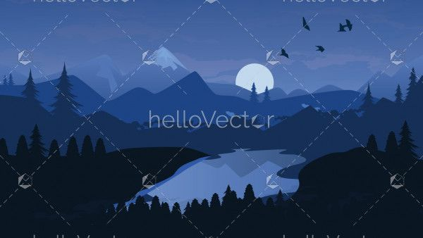 Mountain river and forest vector background