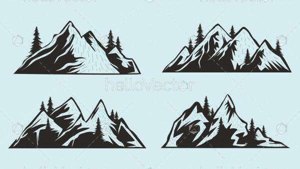 Mountains Silhouettes Set