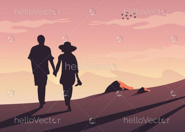 Couple Silhouette Walking