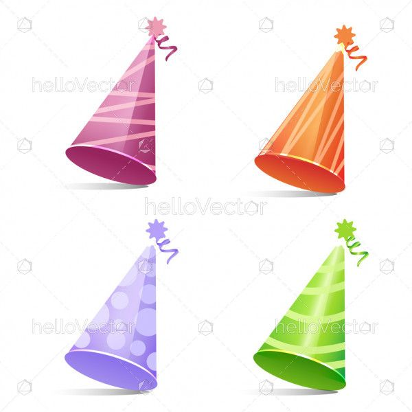 Birthday party hats with ribbon