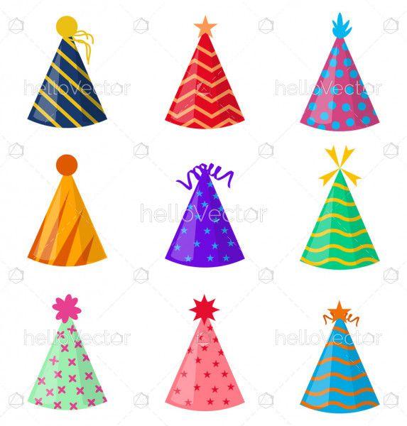 Paper birthday party hat set
