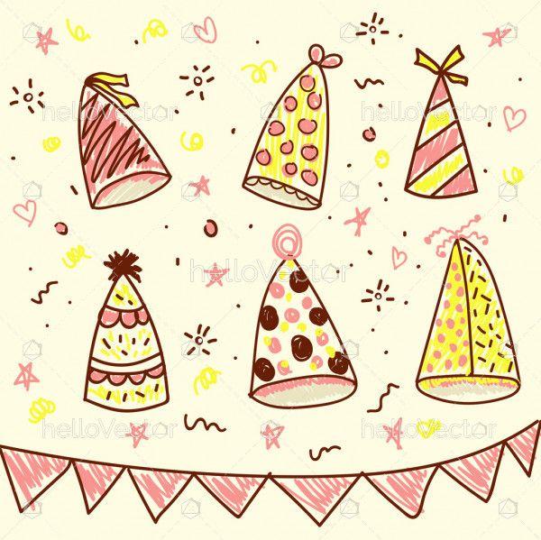 Birthday background hand drawn style