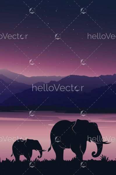 Beautiful sunset background with Elephant. Baby elephant with mom under pink sky - Vector illustration