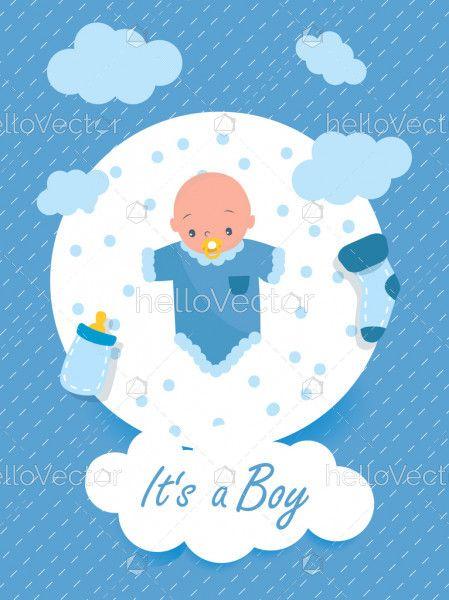 Baby boy shower invitation card design