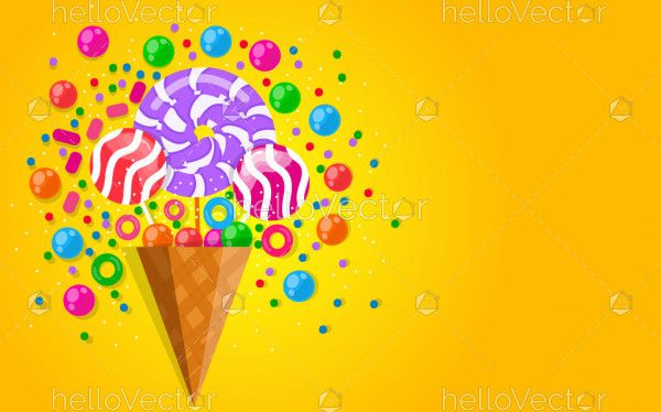 Sweet colorful candy poster background