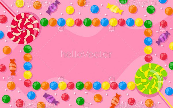 Multicolored candy and colored lollipops