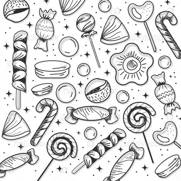 Set of candy in doodle style
