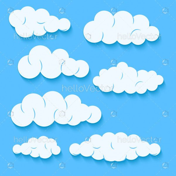 Clouds set isolated on a blue background