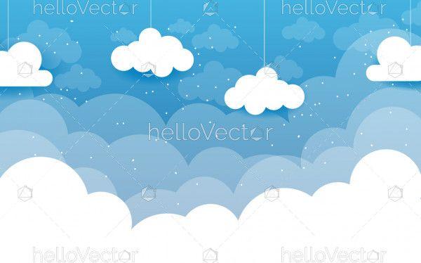 Vector blue cartoon clouds background