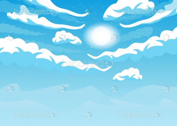 Cloudy sky vector background with sun
