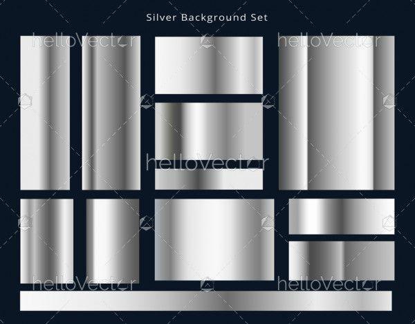 Metal Gradients Silver Panel Collection Vector