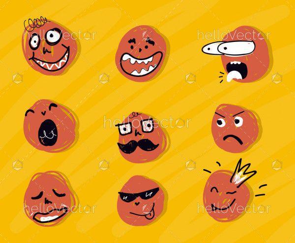Set of different crazy meme faces