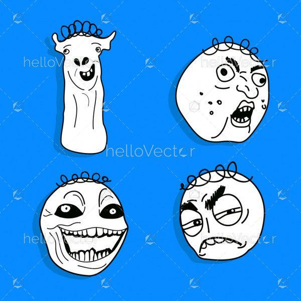 Set Of 4 Meme Face - Vector