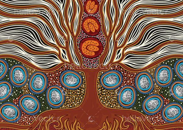 Aboriginal dot tree painting