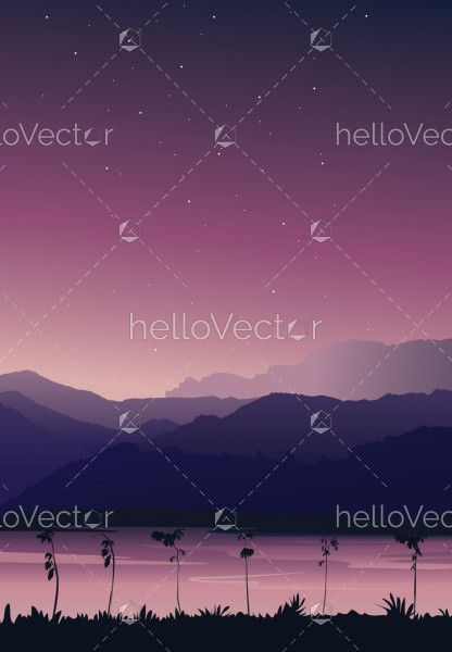 Nature background portrait view. Mountain with river under pink sky with stars - vector illustration