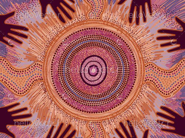 Aboriginal dot hand painting