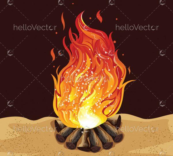 Bonfire Cartoon Illustration