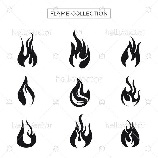 Fire flames icon set