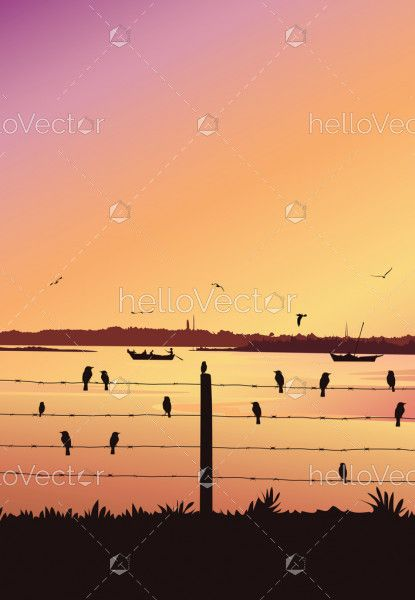 Nature background with river portrait view. Birds sitting on railing, Colorful sunset - Vector illustration